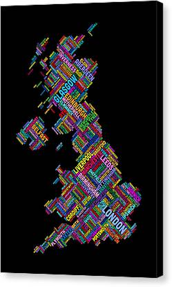 Map Art Canvas Print - Great Britain Uk City Text Map by Michael Tompsett