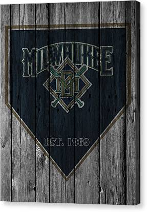 Baseball Canvas Print - Milwaukee Brewers by Joe Hamilton
