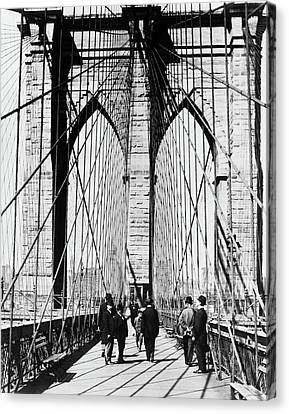 1880s Canvas Print - 1800s 1880s Men Standing On Brooklyn by Vintage Images