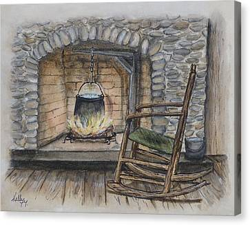 1800s Cozy Cooking .... Fire Place Canvas Print by Kelly Mills