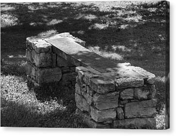 Canvas Print featuring the photograph 1800's Stone And Wood Bench by Robert Hebert