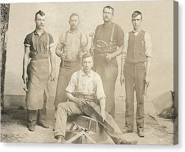 1800's Vintage Photo Of Blacksmiths Canvas Print by Charles Beeler