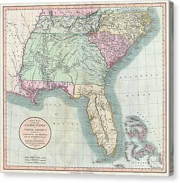 1806 Cary Map Of Florida Georgia North Carolina South Carolina And Tennessee Canvas Print by Paul Fearn