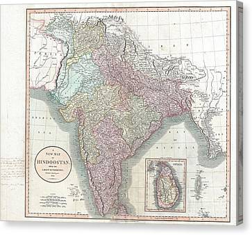 1806 Cary Map Of India Or Hindoostan Canvas Print