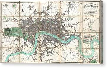 1806 Mogg Pocket Or Case Map Of London Canvas Print by Paul Fearn