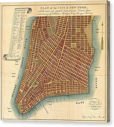 1807 Bridges Map Of New York City Canvas Print by Paul Fearn