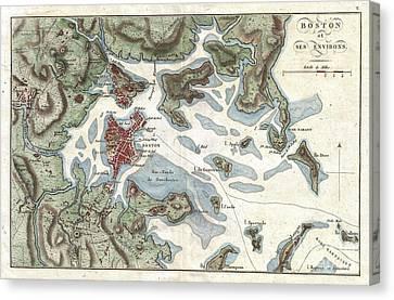 1807 Buache Map Of Boston Massachusetts Canvas Print