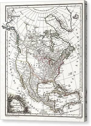 1809 Tardieu Map Of North America  Canvas Print