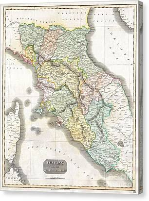 1814 Thomson Map Of Tuscany Canvas Print by Paul Fearn