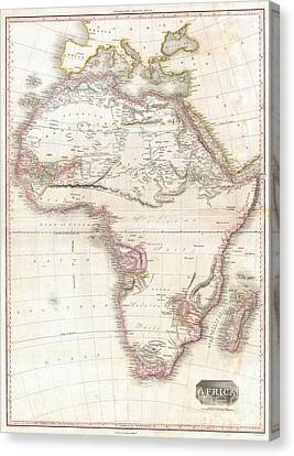 1818 Pinkerton Map Of Africa Canvas Print by Paul Fearn