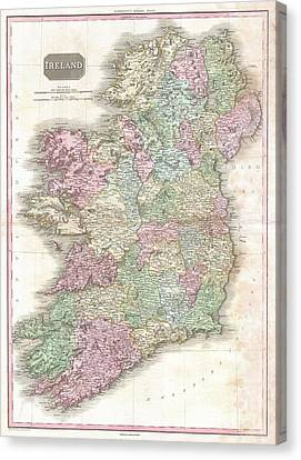 1818 Pinkerton Map Of Ireland  Canvas Print by Paul Fearn