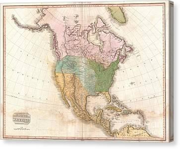 1818 Pinkerton Map Of North America Canvas Print