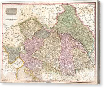 1818 Pinkerton Map Of The Austrian Empire Canvas Print