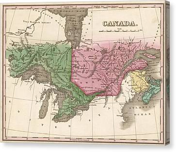 Colonial Man Canvas Print - 1824 Canada Vintage Map Print by Helena Kay