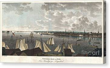 Ply Canvas Print - 1824 Klinkowstrom View Of New York City From Brooklyn  by Paul Fearn