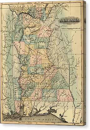 1826 Alabama Map Canvas Print by Dan Sproul