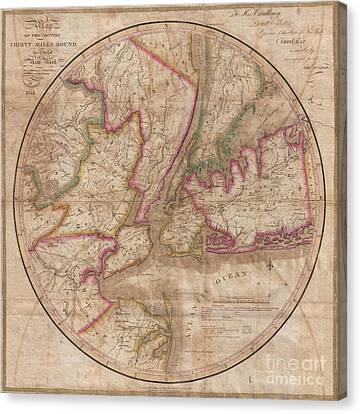 1828 Eddy Map Of New York City And 30 Miles Around Canvas Print by Paul Fearn