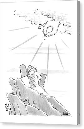 Ten Commandments Canvas Print - New Yorker September 4th, 2000 by Jack Ziegler