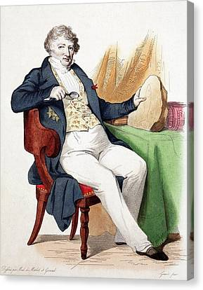1830 Colour Portrait Baron Cuvier Fossil Canvas Print by Paul D Stewart