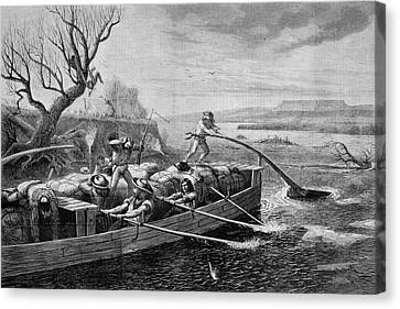 Mountain Men Canvas Print - 1830s 1840s Fur Traders On The Missouri by Vintage Images