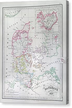 1833 Malte Brun Map Of Denmark  Iceland And Faeroe Islands  Canvas Print by Paul Fearn