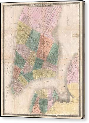 1835 David Burr Map Of New York City Canvas Print by Paul Fearn