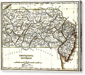 1835 Pennsylvania And New Jersey Map Canvas Print by Bill Cannon