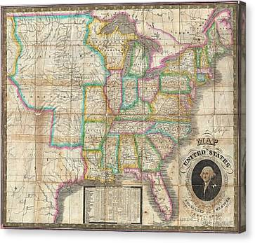 1835 Webster Map Of The United States Canvas Print by Paul Fearn