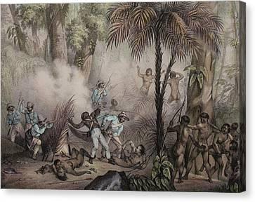 1836 Rugendas Brazil Indian Masacre Canvas Print by Paul D Stewart