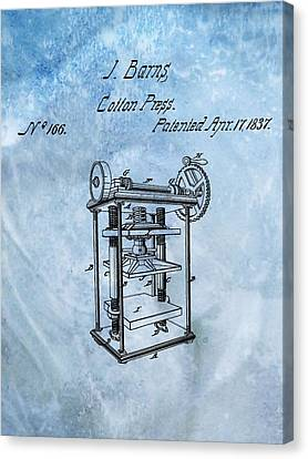 1837 Cotton Press Patent Canvas Print by Dan Sproul