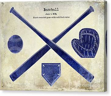 1838 Baseball Drawing 2 Tone Canvas Print by Jon Neidert