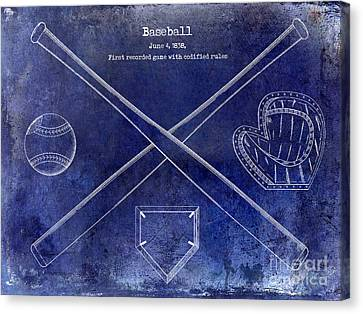 Baseball Canvas Print - 1838 Baseball Drawing Blue by Jon Neidert