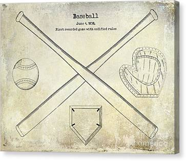 Baseball Canvas Print - 1838 Baseball Drawing  by Jon Neidert