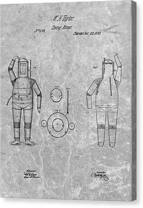 Us Navy Canvas Print - 1838 Diving Armor Patent Charcoal by Dan Sproul
