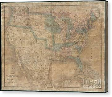 Lines Of The Hands Canvas Print - 1839 Burr Wall Map Of The United States  by Paul Fearn