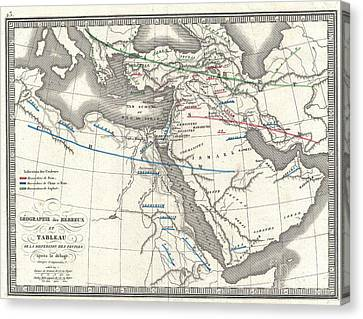 1839 Monin Map Of The Hebrew Peoples Dispersal After The Flood Canvas Print by Paul Fearn