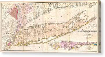 1842 Mather Map Of Long Island New York Canvas Print by Paul Fearn