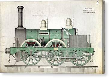 1843 Locomotive Luggage Engine Canvas Print by Jon Neidert