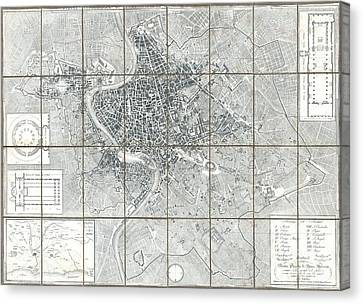 Subsequent Canvas Print - 1843 Monaldini Case Map Of Rome by Paul Fearn