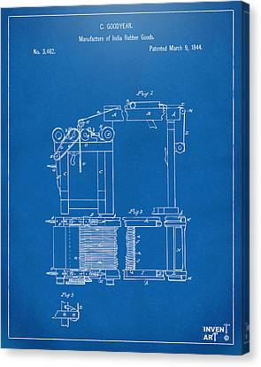 1844 Charles Goodyear India Rubber Goods Patent Blueprint Canvas Print