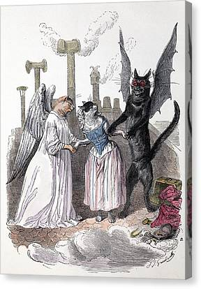 1845 Anthropomorphic Devil Angel Cats Canvas Print
