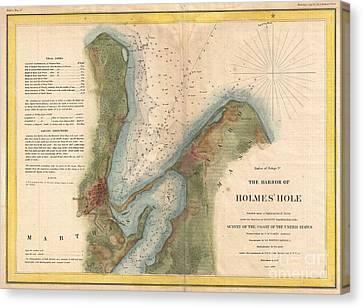 I Am Sailing Canvas Print - 1847 Us Coast Survey Map Of Holmes Hole Vineyard Haven Marthas Vineyard Massachusetts by Paul Fearn