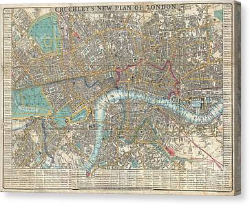 1848 Crutchley Pocket Map Or Plan Of London Canvas Print by Paul Fearn