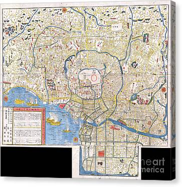 1849 Edo Period Japanese Woodcut Map Of Edo Or Tokyo Japan Canvas Print by Paul Fearn