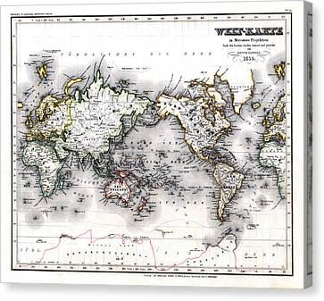 Canvas Print featuring the photograph 1850 Antique World Map Welt Karte In Mercators Projektion by Karon Melillo DeVega