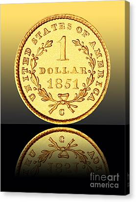 1851 1 Dollar Rare Charlotte Gold Canvas Print by Jim Carrell