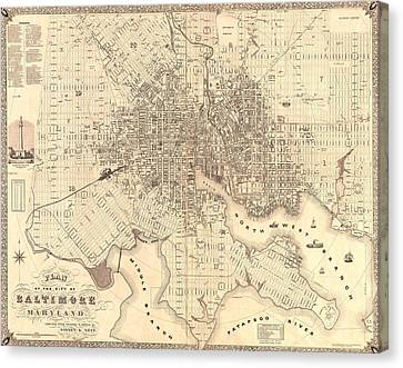 1851 Baltimore Maryland Map Canvas Print by Dan Sproul