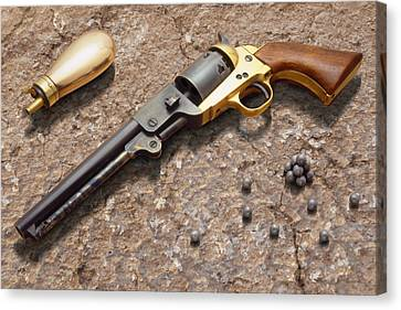 Flask Canvas Print - 1851 Navy Revolver 36 Caliber by Mike McGlothlen