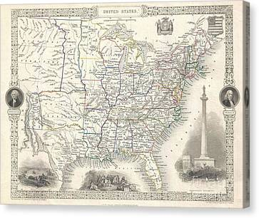 1851 Tallis And Rapkin Map Of The United States Canvas Print by Paul Fearn