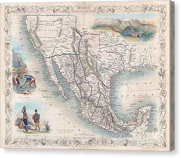 1851 Tallis Map Of Mexico Texas And California  Canvas Print